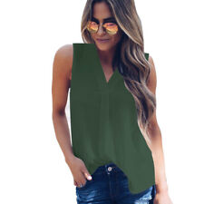 Summer Womens Sleeveless T Shirts Chiffon Shirt Casual Loose Tank Top Blouse