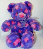 "Hug & Luv 22"" Teddy Bear Plush Toy Purple & Pink Wearing A Bow & Heart Designs"