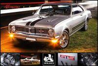 """HOLDEN HT MONARO GTS V8 POSTER - 2 DOOR 1970 SILVER - 91 x 61 cm 36"""" x 24"""""""