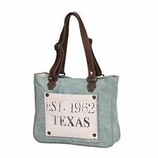 Myra Bag Turquoise Texas Upcycled Canvas Hand Bag S-0885