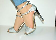 ladies womens silver ankle strap peep toe high stiletto heel sandals uk size 6