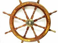 "VINTAGE Ship Wheel 36"" Wooden Decorative Boat Ships Captains Wall Hanging Decor"