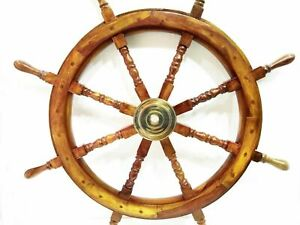"VINTAGE Ship Wheel 36"" Wooden Decorative Boat Ships Captains Wall Hanging Decor"