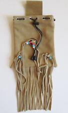 Gürteltasche Lederbeutel Wildleder beige mit Fransen Indianer Western Style