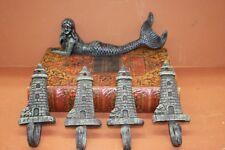 (5), Antique-look Mermaid Home Decor,Mermaid Shelf Figurine Lighthouse Wall Hook