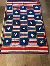 Vintage Americana - July 4th! Home made Hand Crochet Throw / Blanket - 68�x45�