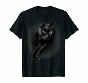 Black Cat Yellow Eyes T-Shirt Cats Tee Shirt Gifts Full Size S To 5XL Hot New