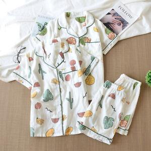 Japanese Women 100% Gauze Cotton Short Sleeves Pajamas Set Cartoon Sleepwear Pjs