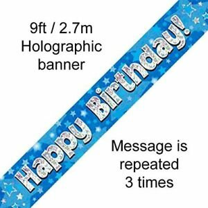 Happy Birthday Blue Holographic Foil Banner