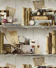Book Case Shelf. Grandeco Eclectic Natural Wallpaper A12402