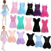 Girls Ballet Dance Dress Kids Gymnastics Leotards Ballroom Tutu Skirt Costume