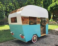 Retro Dog Trailer Camper Van Pet House in style of 50s.