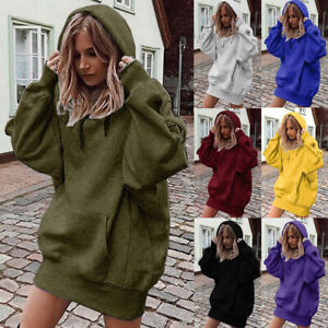 UK Womens Sweatshirt Hoodies Ladies Shift Loose Hooded Pullover Tops Mini Dress