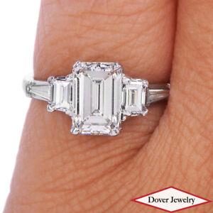 Antique 2.01ct Emerald Cut Diamond Platinum Engagement Wedding Ring NR