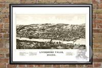 Vintage Livermore Falls, ME Map 1889 - Historic Maine Art - Victorian Industrial