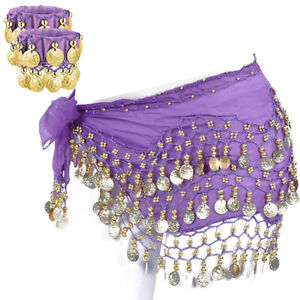 3 Rows Belly Dance Hip Skirt Scarf Wrap Belt with Bracelets Gold Coins Purple US