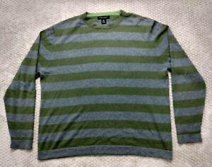 Banana Republic Silk Cashmere Mens Gray Green Striped Sweater Crew Neck Sz Large