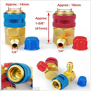 2 Pcs High + Low Side Car A/C R134a Quick Coupler Adapter SAE Flare Fitting Kit