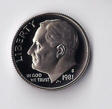 1981 S Roosevelt Dime, A Proof Coin, Clad, Finish Your Dime Book. #9128