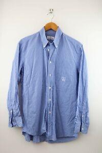 Valentino Sport vintage Herren Hemd Gr. 50 ca. L langarm Karo weiß blau