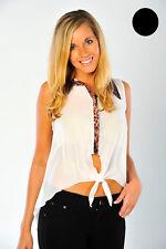 Chiffon Blouse Animal Print Collar Sheer Sleeveless Shirt Top Ladies Brand New