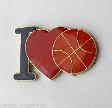 I LOVE BASKETBALL HEART NOVELTY LOGO LAPEL PIN BADGE 1 INCH