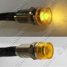 2 Amber LED 12v Indicator Lights Pilot Dash Signal Toggle Bulbs Instrument Light