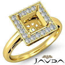 Halo Diamond Engagement Princess Semi Mount Filigree Ring 14k Yellow Gold 0.36Ct