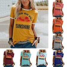 UK Womens T-Shirt Sunset Summer Tee Tops Short sleeve Ladies Blouse Size 12-20
