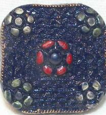 Navy Blue Glass Button Square Red Yellow Green Flowers Self Shank Vintage #23