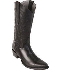 Los Altos Genuine BLACK Premium Leather Snip Toe Cowboy Western Boots EE