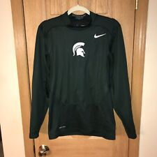 Men's Nike Michigan State L/S Shirt S Hyperwarm Shield Green Compression Rare