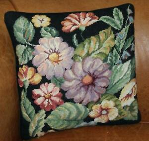 """Black Needlepoint Pillow Cover Floral 15.5"""" Square Flowers B1"""