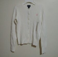 Polo Ralph Lauren Girls White Button Down Cable Cotton Sweater Size XL(16) NWT