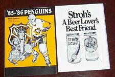 1985-1986 85-86 Pittsburgh PENGUINS schedule NHL Mario Lemieux rookie NRMINT