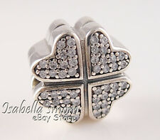 PETALS OF LOVE Authentic PANDORA Silver CLOVER Clip/Charm 791805CZ NEW w BOX