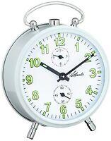 Réveil mécanique, en métal blanc, chiffres lumineux, ATLANTA, 1063/0 NEUF