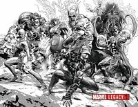 MARVEL LEGACY 1 MIKE DEODATO B&W SKETCH WRAP 1:1000 VARIANT SPIDERMAN THOR NM