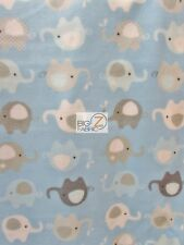 "ANIMAL PRINT POLAR FLEECE FABRIC - Baby Elephants Baby Blue - 60"" SOLD BTY - 904"