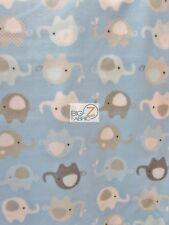 "ANIMAL PRINT POLAR FLEECE FABRIC - Baby Elephants Baby Blue - 60"" SOLD BTY - 904"