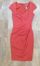 Lipsy Coral Orange Cap Sleeve Fitted Body Con Dress Vintage Style Wedding Size 8