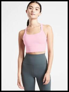 Athleta NWT Women's Warrior Longline Bra A-C Size XSmall Color Petit Four Pink