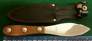 Edge Brand throwing knife,  leather handles, leather sheath, Solingen Germany