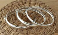 925 Sterling Silver Oval Bangle Bracelet Plain 7mm 9mm 11mm UK Hallmarked
