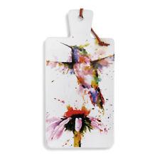 Peewee Hummingbird Watercolor Red Ceramic Stoneware Carving Serving Board