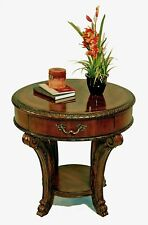 Vintage Victorian Old World Style Round Wood Lamp End Table