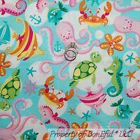 BonEful Fabric FQ Cotton Quilt Aqua Pink Octopus Sea Horse Crab Star Fish Turtle