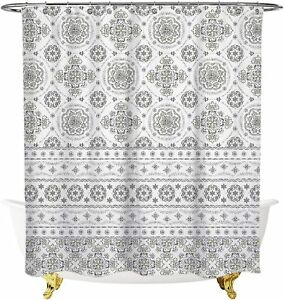 Gray and White Tribal Boho Floral Medallion Gorgeous Cute Shower Curtain