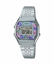 NEWEST Casio LA680WA-2C Women Mid-Size Silver Digital Retro Vintage Watch FLORAL