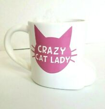 Crazy Cat Lady bb Paw Cermamic 16 oz Mug White & Pink by Big Mouth Kitty